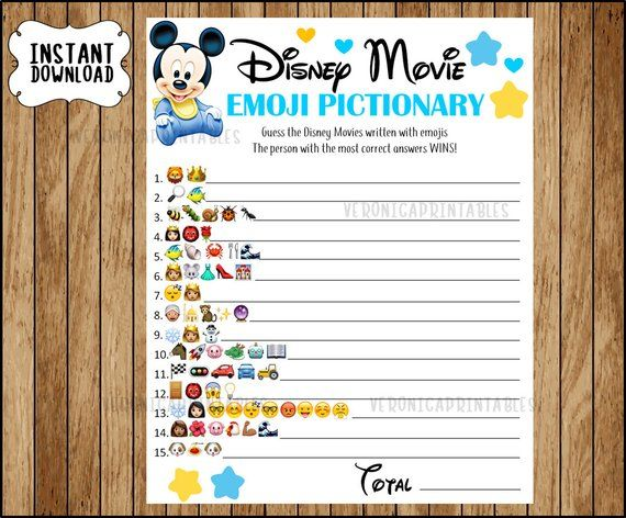 Disney Movie Emoji Pictionary Baby Shower Game Mickey Baby Theme Answers Included Instant D Disney Baby Shower Themes Disney Baby Shower Mickey Baby Showers