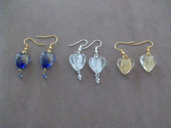 Venetian Murano Heart Earrings - delicate dangle earrings