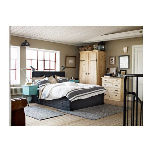 FJELL Bed frame with storage IKEA The 4 large drawers give you an extra storage space under the bed.