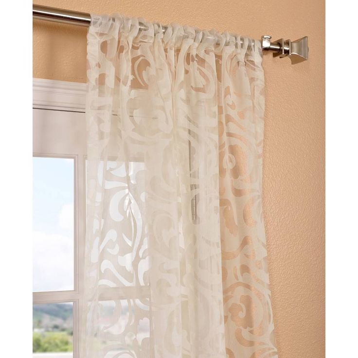 Exclusive fabrics margo ivory patterned sheer curtain for Patterned sheer curtain panels