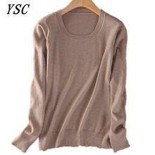 YUNSHUCLOSET ventas Calientes del suéter de cachemira O-cuello de la manera de la manga larga de color sólido de punto suéter S-XXXL envío gratis(China (Mainland))