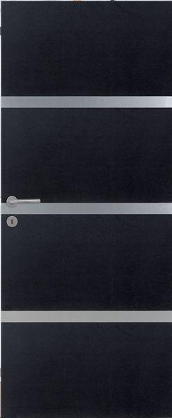 porte int rieure contemporaine mdf noir 3 inserts alu vernis naturel mat portes int rieures. Black Bedroom Furniture Sets. Home Design Ideas