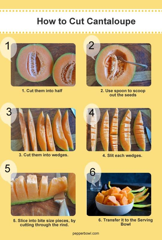 how to cut cantaloupe infographic with step by step pictures and instruction.