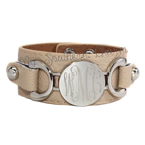 Monogrammed Engraved Leather Bracelet Silver Gold Disk Bridal Bridesmaid Monogram Gift by SouthernTLC on Etsy https://www.etsy.com/listing/237829126/monogrammed-engraved-leather-bracelet