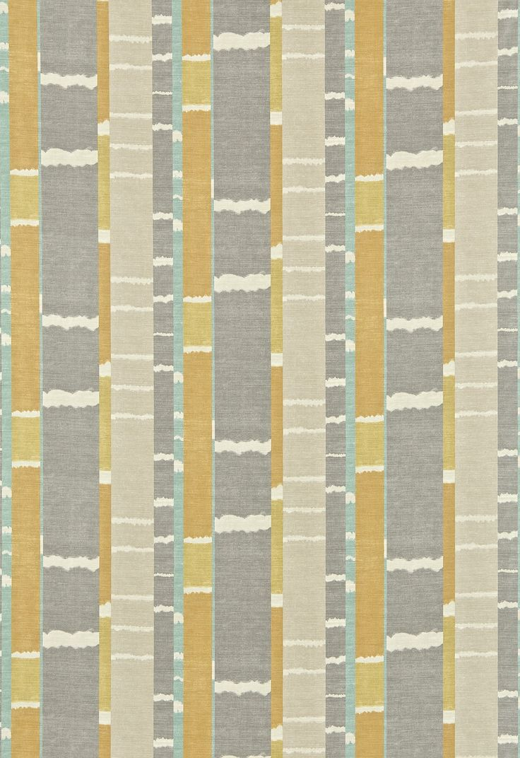 Exclusive fabrics painted chevron printed cotton curtain free - Kamili Scion Fabrics A Stripe Effect Created From A Hand Painted Interpretation Of An Ikat Weave Shown In The Sauterne Yellow And Gull Grey Colourway