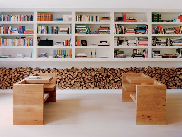 nice effect of a wide wood stock along the wallLibraries, Bookshelves, Benches, Interiors, Country House, Book Storage, Bookcas, Design, Firewood Storage