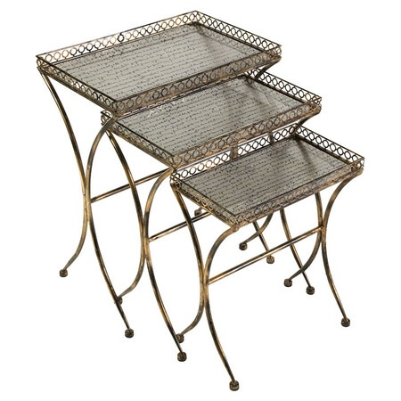 Set of three wrought iron and glass nesting tables.        Product: Small, medium and large side table  Construction Mater...: Nesting Tables, Side Tables, Simone Side, Glass, Table Construction, Wrought Iron