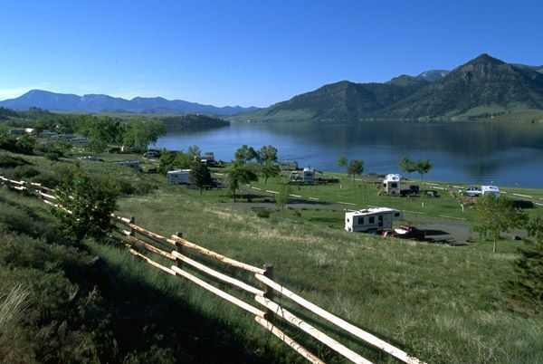 Holter Lake, a reservoir on the upper Missouri River - View of a deep blue lake surrounded by low mountains