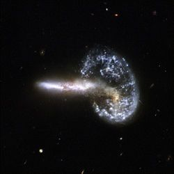 Mayall's Object (also classified as Arp 148) is the result of two colliding galaxies located 500 million light years away within the constellation of Ursa Major.
