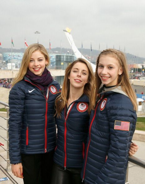 Gracie Gold, Ashley Wagner and Polina Edmunds of the USA Figure Skating team. Sochi 2014.