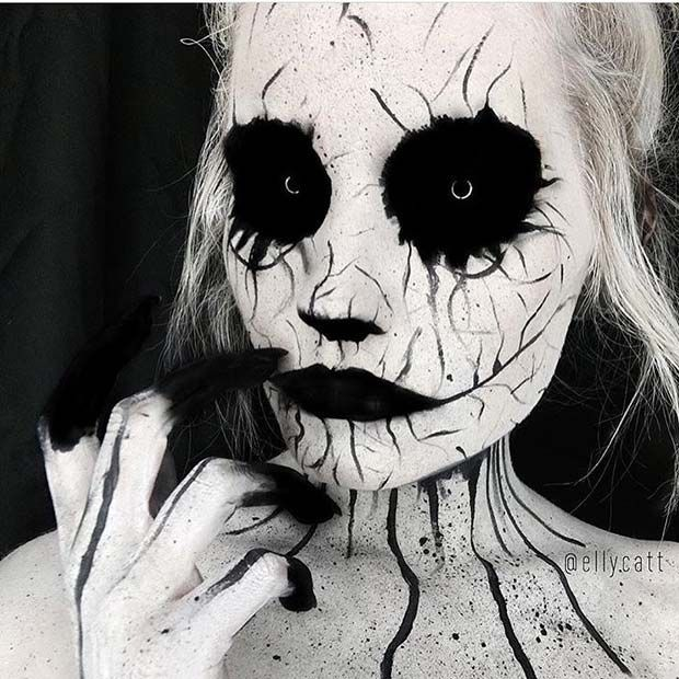 Scary Black And White Halloween Makeup Idea Halloween Makeup Looks Amazing Halloween Makeup Cute Halloween Makeup