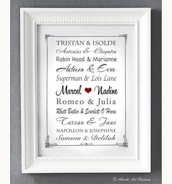 Liebevoll designter Kunstdruck in **DIN A4 Format** auf hochwertigem Künstler-Strukturpapier z.B als Geschenk zur Hochzeit, zum Hochzeitstag, zur Verlobung, zum Jahrestag, zum Valentinstag,...
