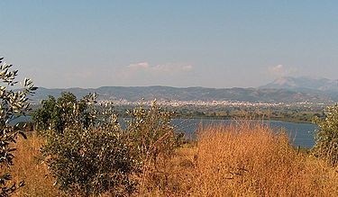 Lysimachia Lake, Etoloakarnania, Greece - View upon the lake with the city of Agrinio in the background.jpg