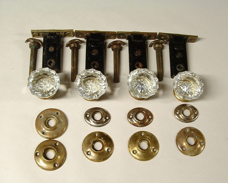 old door and locks   Vintage Glass Door Knob Lock Sets set of 4 by TheFrabjousDay