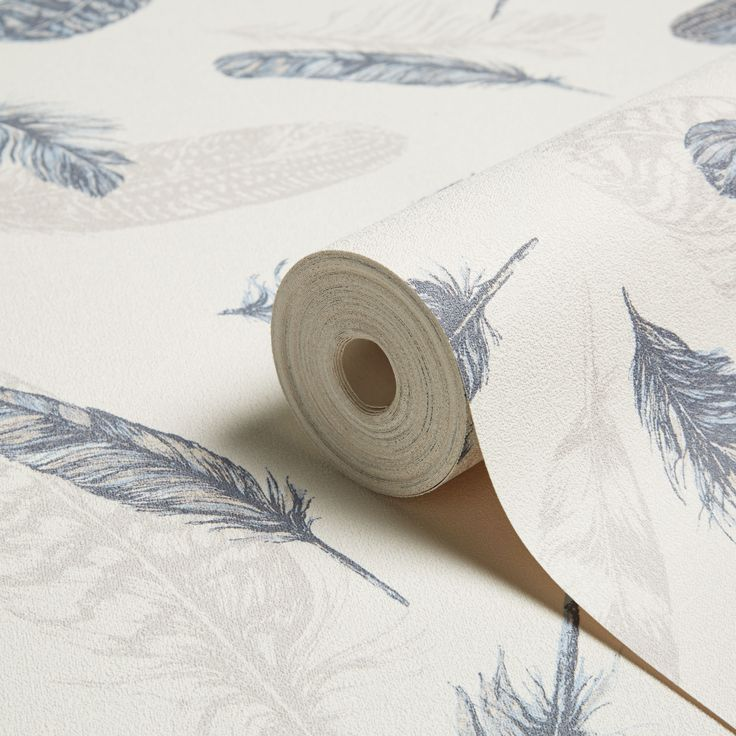Arthouse Plume Blue & Cream Feathers Wallpaper   Departments   DIY at B&Q