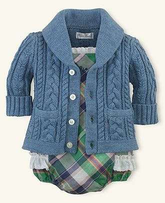 Ralph Lauren Baby Sweater, Baby Girls Shawl-Collar Patch-Pocket Cable-Knit Cardigan - Kids Baby Girl (0-24 months) - Macy's