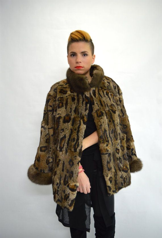 Real nutria fur coat nutria fur coat sable trim fur coat by BeFur
