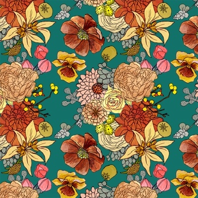 illustrations by katie vernon.Katy Vernon, Bright Floral Wallpaper, Floral Patterns, Autumn Floral, Pattern Illustration, Colors Palettes, Colours Pattern, Vernon Floral, Colors Schemes