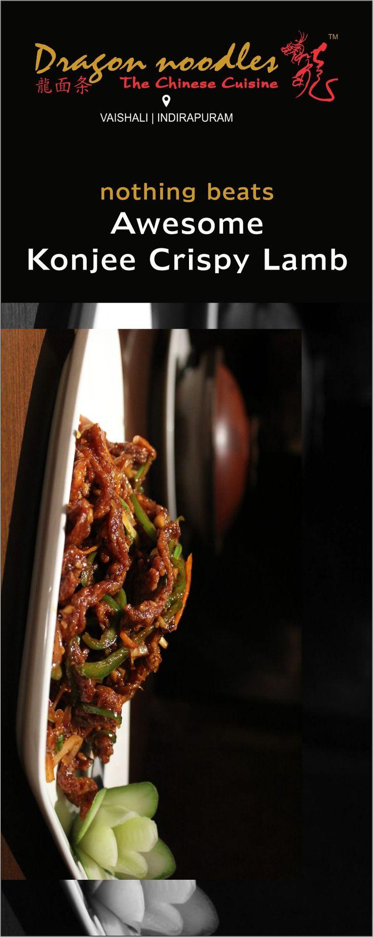 Lamb lovers? You shouldn't miss it! #KonjeeCrispyLamb #DragonNoodles #Chinese #Food #foodies #vaishali #indirapuram