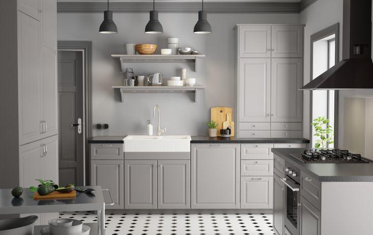 IKEA. Fast inte svart bänkskiva eller grå vägg. Istället vit vägg, och trä skiva?