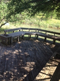 Benches around the edge of the deck.