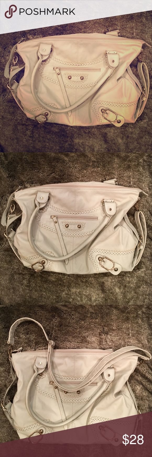 Cream & Stitch Faux Leather Adjustable Handbag Used - W/O tags. My sister got this item awhile back and used the bag for only a few hours ONE DAY. Item looks AMAZING, only issue I see is two teeny tiny marks that you can see in some of the last photos. Used and worn ONCE if that - in excellent condition! Price negotiable. Just offer! NOTE: brand IS NOT Nordstrom. Not sure what the brand is, but I do know the item was purchased at a Nordstrom Rack. Nordstrom Bags Backpacks