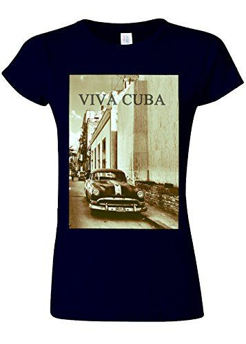 Viva Cuba Classic Car Novelty Navy Femme Women Top T-Shirt-XXL: Tweet 100% Soft Cotton Top Quality Print S- Poitrine 41cm(16 inches)…