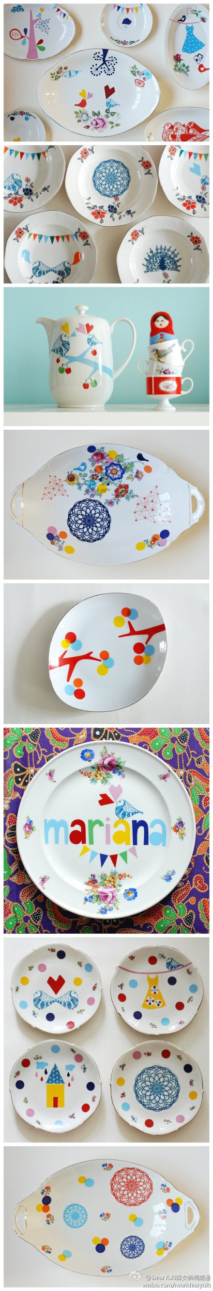 just love this d.i.y porcelain painting