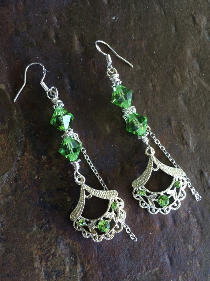 Swarovski Peridot Earrings by circleofstonesjewel on Etsy