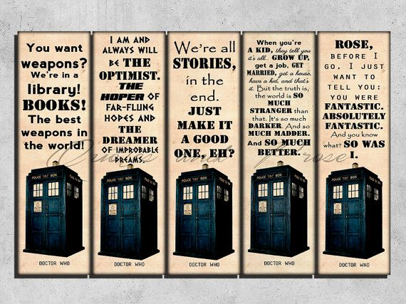 Printable Bookmarks Doctor Who bookmark Doctor by QuotesandProse