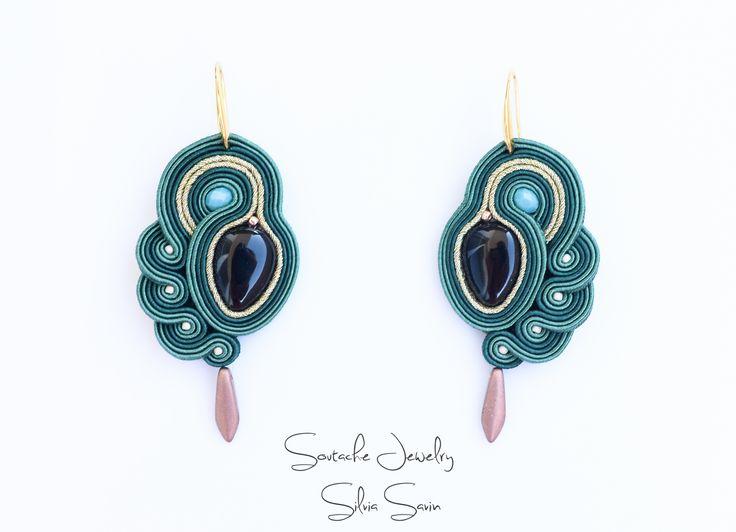 Green soutache earrings with onyx teardrops
