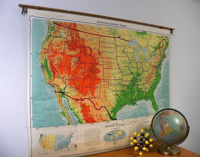 Vintage United States Classroom Map, Denoyer Geppert, Pull Down Wall Map via Cathode Blue on Etsy http://www.etsy.com/shop/cathodeblue