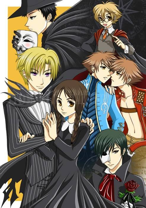 Mori-V, Honey-Harry Potter, Hikaru Kaoru- Virgil Dante, Tamaki-Jack Skellington, Haruhi-Wednesday Addams, Kyoya-Phantom of the Opera