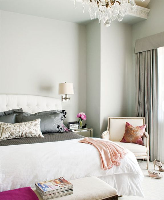 Master bedroom: Wall Colors, Pink Rooms, Interiors Design, Parisians Bedrooms, White Bedrooms, Master Bedrooms, Style At Home, Gray Wall, Beautiful Bedrooms