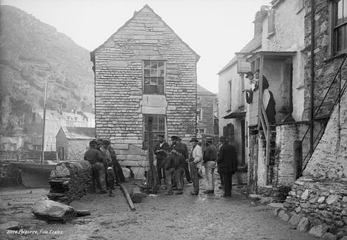Fish being weighed, Polperro, Cornwall. Francis Frith & Co. About 1889