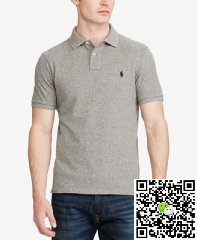 eb301d366fa3 Polo Ralph Lauren Men s Custom Slim-Fit Cotton Mesh Polo Shirt Gray ...