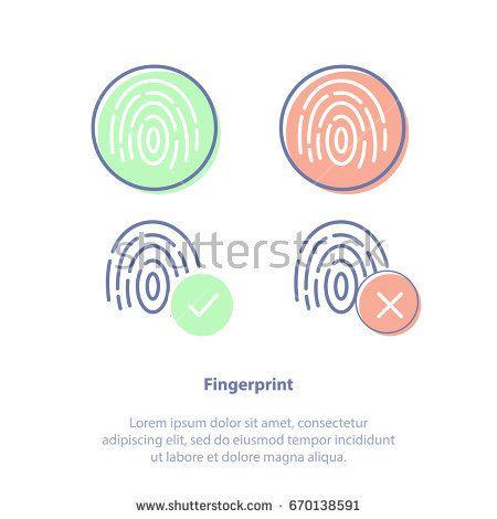 Flat line vector illustration concept of Fingerprints, Identification technology, ID app icon. Four fingerprint types detailed. Isolated icon set.