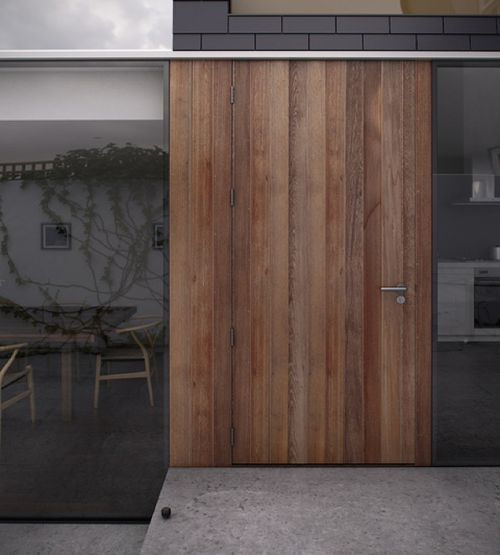 Modern wood door with vertical boards wood doors for Natural wood front door