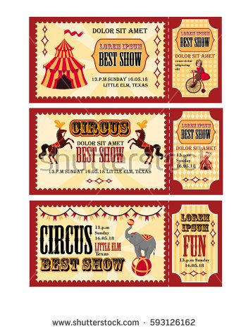 circus tickets design with tent circus horses monkey on bike and