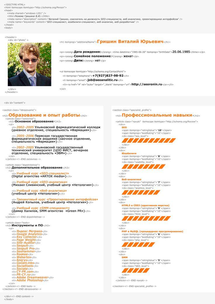 Виталий Гришин - резюме (SEO, SMM, юзабилити, разработка сайтов, интернет-маркетинг)