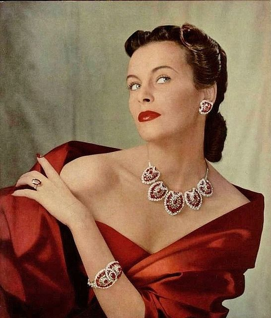 Ravishingly lovely in deep crimson hued Cartier rubies and diamonds.