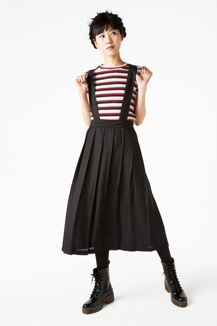 NEW! Pleated dungaree skirt