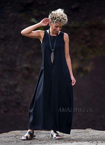 vestido largo de lino negro