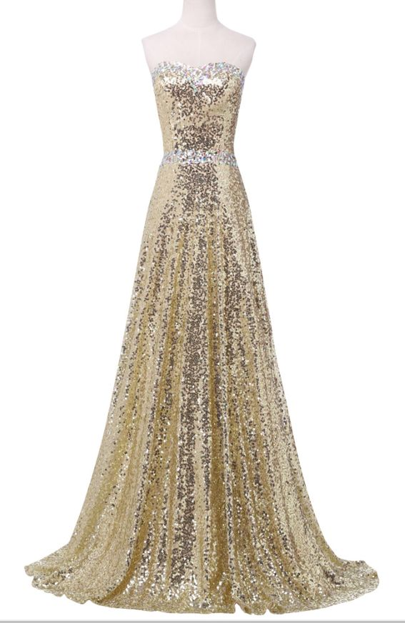 Luxurious design gold evening gown long ball gown