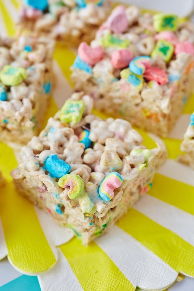 Do you love Rice Krispies treat bars and Lucky Charms cereal? Then this recipe is for you. It's a perfectly festive way to celebrate St. Patrick's day without breaking out any green food coloring. Plus, it only requires three ingredients (and two optional, but highly recommended, ones). These bars have a double dose of marshmallows, thanks to the Lucky Charms, and are an amazingly tasty upgrade to the classic marshmallow and cereal bar.
