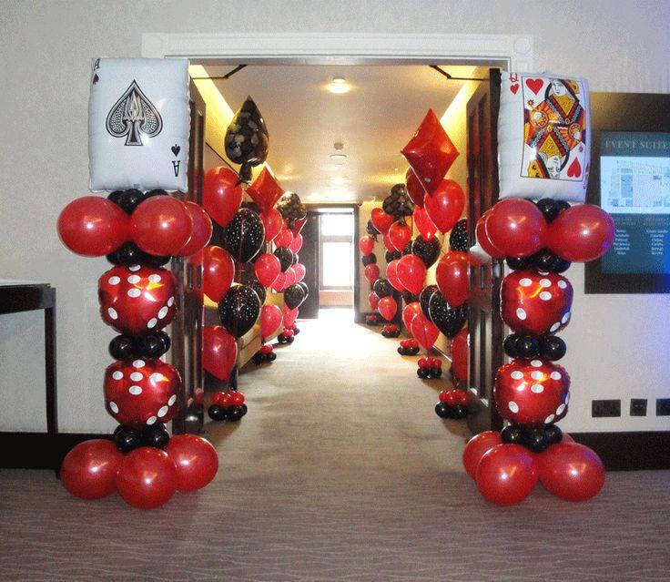 39 best casino theme balloon decor images on pinterest for Balloon decoration london