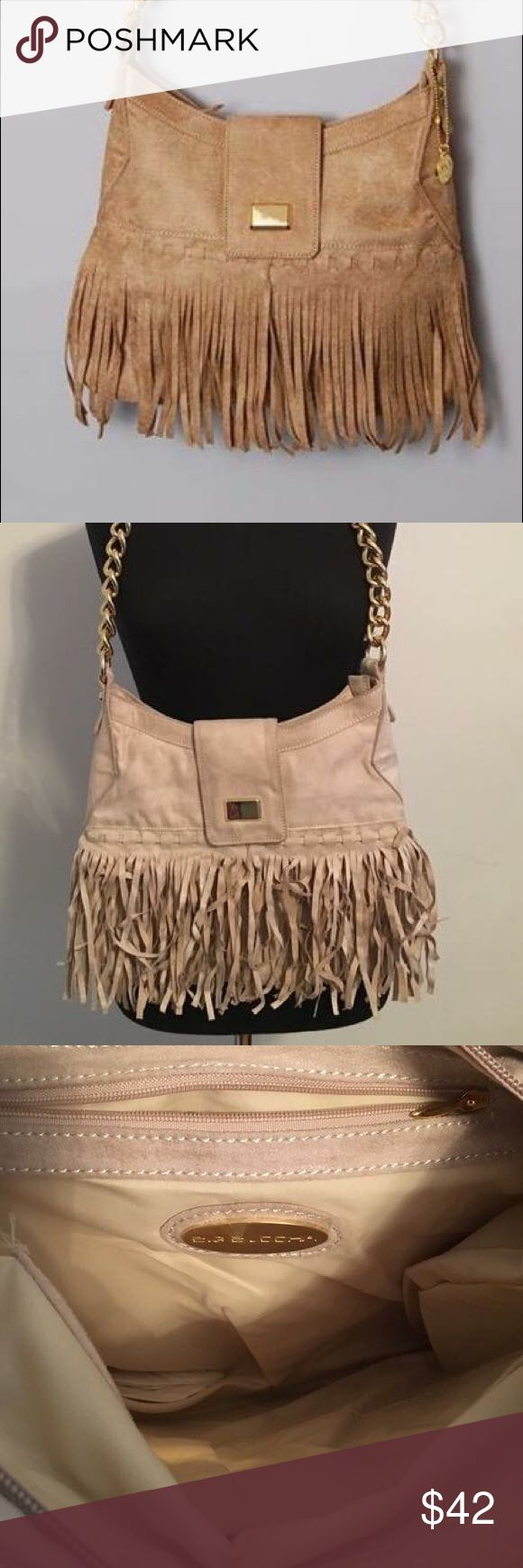 New Big Buddha Fringe Suede Purse with Gold Chain Never used! Suede material. Great space and compartments inside. Big Buddha Bags Hobos