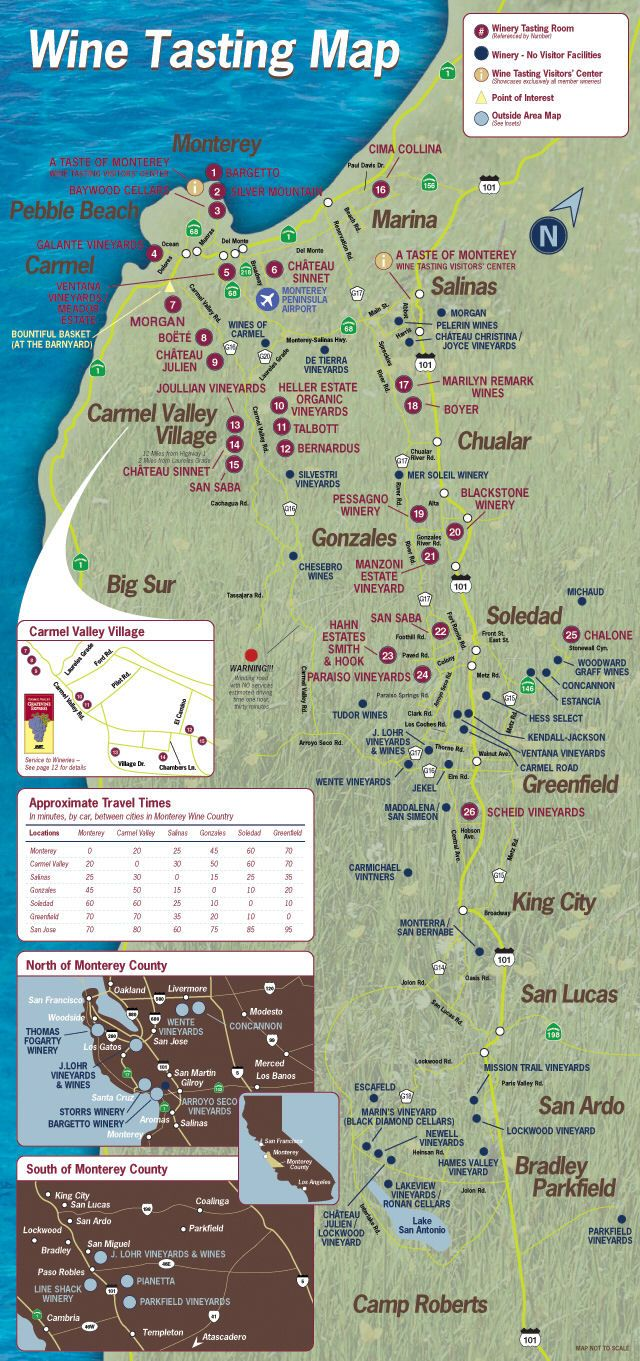 wineries in monterey ca | Monterey area wineries map - monterey ca • mappery i must go someday
