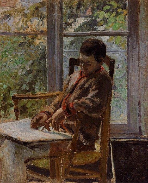 Lucien Pissarro in an Interior. (1875). Камиль Писсарро