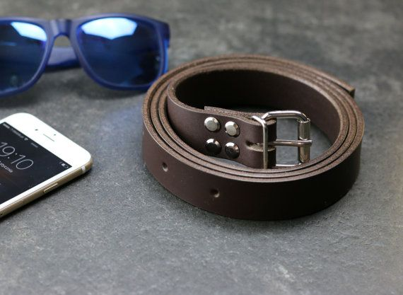 BROWN LEATHER BELT  1 inch Wide  Jeans Leather Belt  by POPEQ